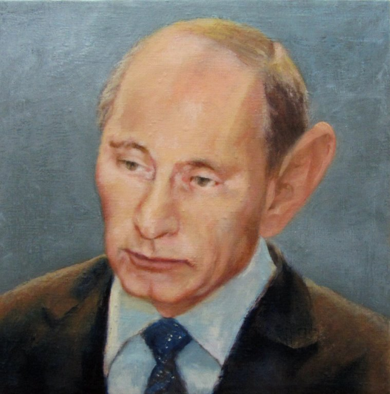 Putin with wrong painted ear